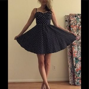 Stop Staring! Navy Polka Dot Dress